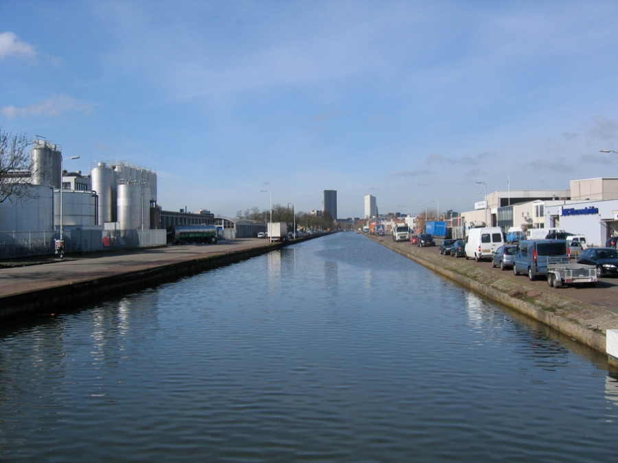 [View of the Eindhoven Canal; constructed from 1843-1846, the Canal connected the industrial center of Eindhoven to the Zuid-Willemnsvaart regional canal]