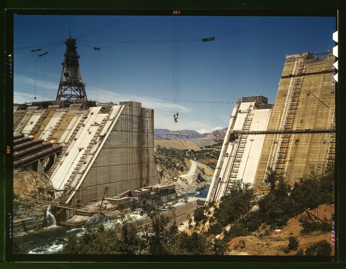 [Shasta Dam under construction, 1942, by Russell Lee, courtesy of the US Library of Congress]