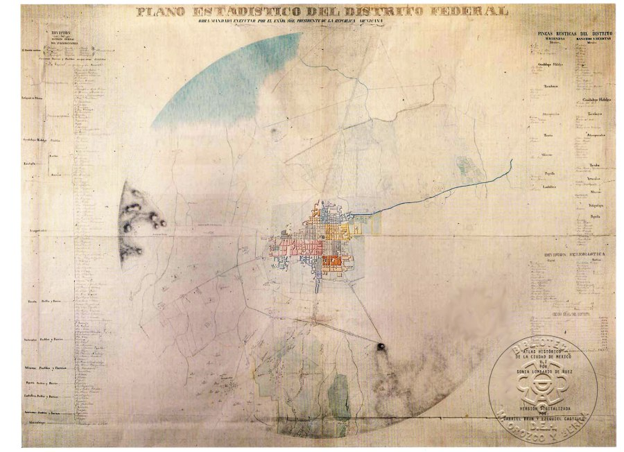 "[1840, Anonymous, ""Statistical Map of the Federal District.""  This 19th century map of Mexico City shows the core of the city, surrounding roads, rivers, and mountains.  The dark dot toward the bottom right is the Bosque de Chapultepece and shows two aqueducts proceeding from the Bosque to the city; in the upper left you can see the receding lake that the city was originally built in; the abstract circular border represents the administrative boundary created by a 2 league radius from the main square; image from the Mapoteca Orozco y Berra de la Direccion General de Informacion Agropecuaria; found by Rosaura Trejo as part of her research effort for her masters thesis on the Bosque de Chapultepec]"