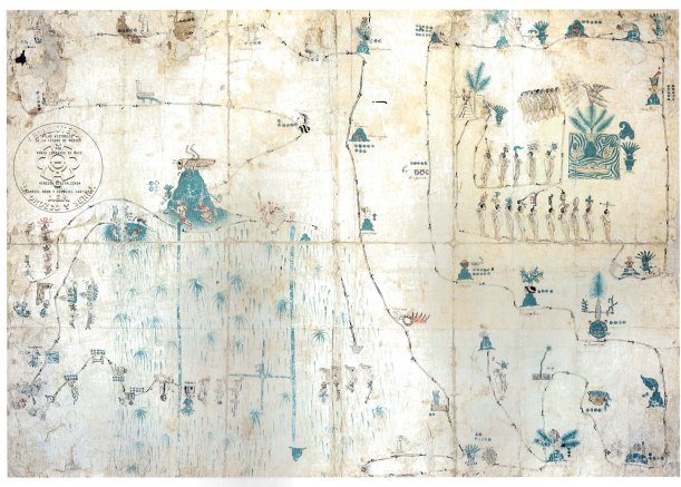 "[""Ramirez Codex""; made in the 16th century, this representation narrates the pilgrimage of the Aztecs from Aztlan to the founding of Tenochtitlan (modern day Mexico City); Tenochtitlan is toward the bottom in the center left and is signified by a cactus on a blue crossroads, which probably alludes to the four sections and orthogonal geometry it had at the beginning]"